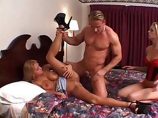 Two hungry babes suck and titty fuck a fit dude and share the cumload