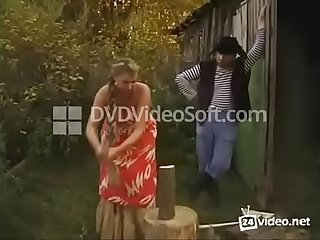 Busty russian blonde beauty with hairy pussy and huge tits fucked in countryside
