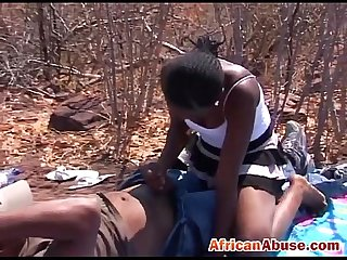 Lucky African guys get their cocks sucked in the outdoors