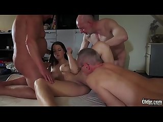 OLD YOUNG Babe Gangbang with grandpas she gets double penetrated hard fuck