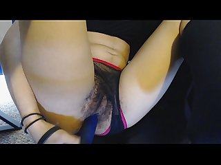 Hairy Pussy under Sheer Black and Pink Panties gets Fucked by Blue Dildo