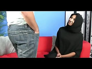 Muslim Hijab girl jerks big white cock