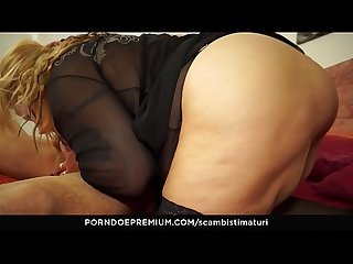 SCAMBISTI MATURI - Blonde Italian BBW is the perfect newbie to be fucked by younger stallion