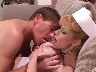 Big tits blonde nurse chick gets pussy eaten and fucked on the couch